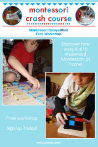 Confused on how to implement Montessori at home? Overwhelmed by the info out there, join the FREE workshop and start using Montessori at home today | Montessori at home | education | homeschool |